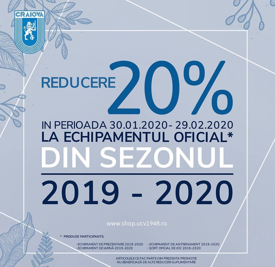 20% reducere la echipamentul oficial