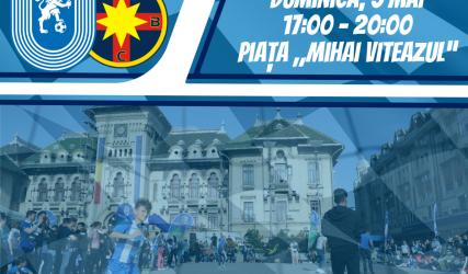 """#FanZone în centrul Craiovei înaintea duelului de """"foc"""" cu FCSB"""