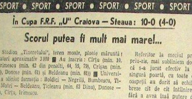 Astăzi se împlinesc 39 de ani de la Craiova - Steaua 10 - 0