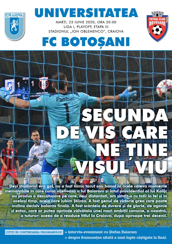 Programul de meci cu Botoșani, în format digital