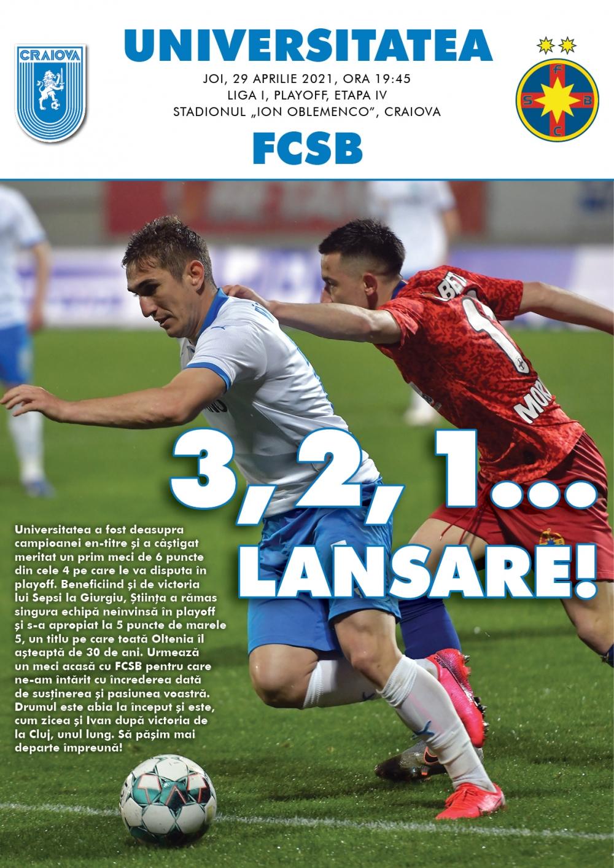 Programul de meci cu FCSB, în format digital