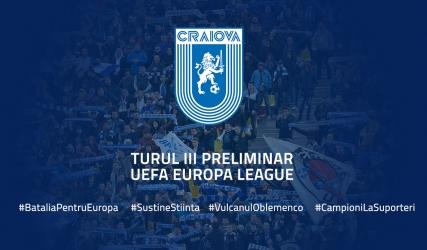 Universitatea Craiova va întâlni în turul trei preliminar câștigătoarea dintre RB Leipzig(GER) și BK Häcken(SWE).